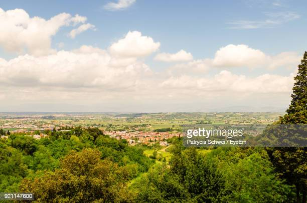 aerial view of cityscape against sky - san miniato stock pictures, royalty-free photos & images