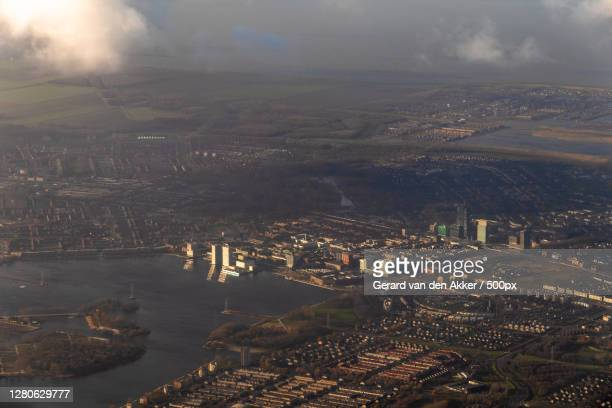 aerial view of cityscape against sky,almere,netherlands - アルメレ ストックフォトと画像