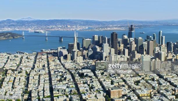 Aerial view of cityscape and bridge, San Francisco, California, United States