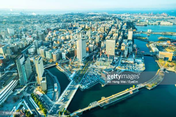 aerial view of cityscape and river - 神奈川県 ストックフォトと画像