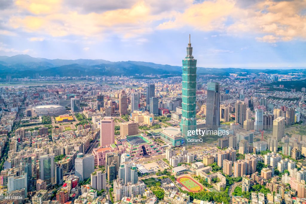Aerial view of cityscape at Taipei center district, Taiwan : Stock Photo