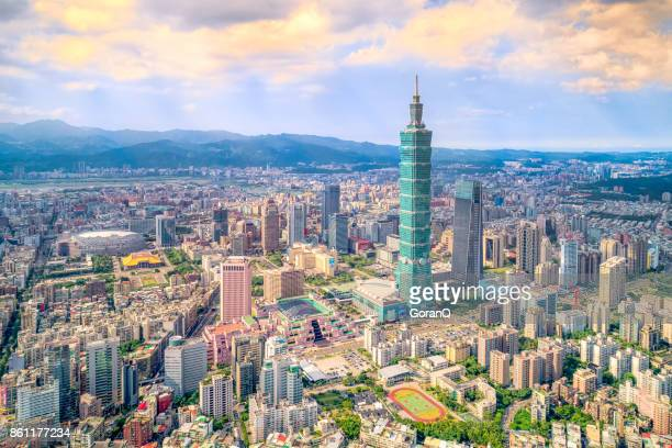 aerial view of cityscape at taipei center district, taiwan - taipei stock pictures, royalty-free photos & images