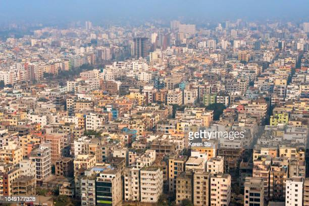 aerial view of cityscape, dhaka, bangladesh - dhaka stock pictures, royalty-free photos & images