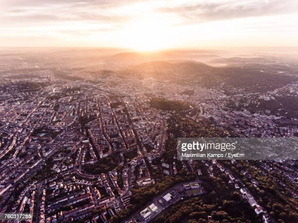 aerial view of cityscape during sunset - baden württemberg stock photos and pictures