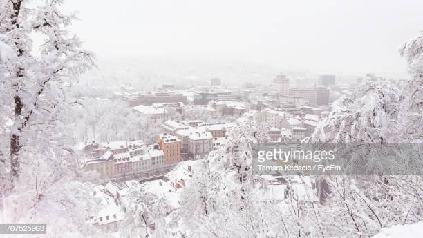 aerial view of cityscape during winter - リュブリャナ ストックフォトと画像