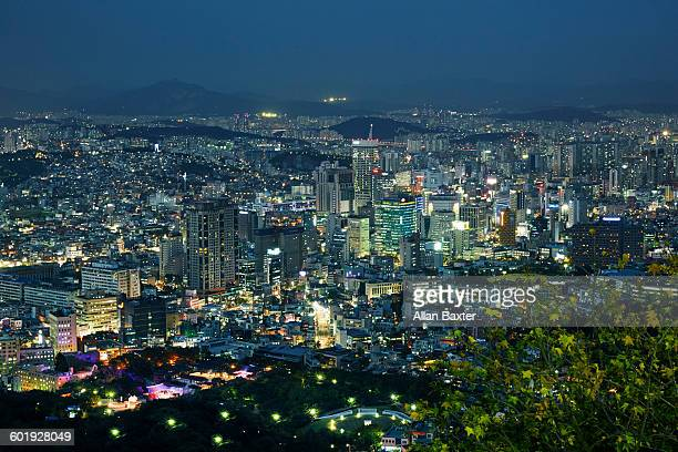 Aerial view of cityscape of Seoul at night