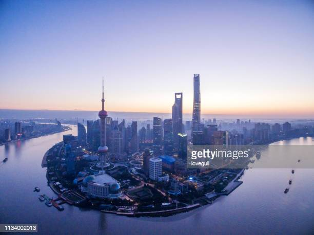 aerial view of cityscape of shanghai with sunrise