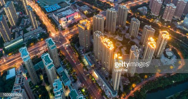 aerial view of cityscape - liyao xie stockfoto's en -beelden