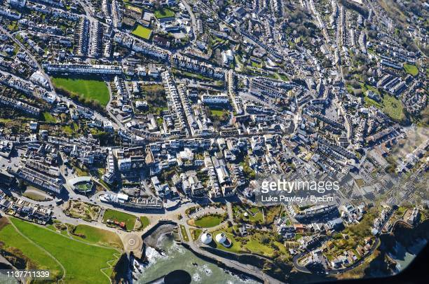 aerial view of cityscape - ilfracombe stock photos and pictures