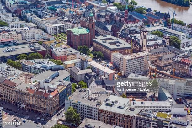 aerial view of cityscape - val thoermer stock-fotos und bilder