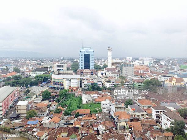 aerial view of cityscape - bandung stock pictures, royalty-free photos & images