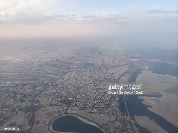 aerial view of cityscape - emirate of sharjah stock pictures, royalty-free photos & images