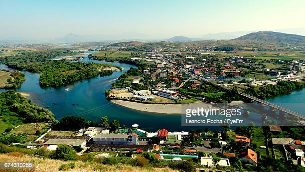 aerial view of cityscape - tirana stock pictures, royalty-free photos & images