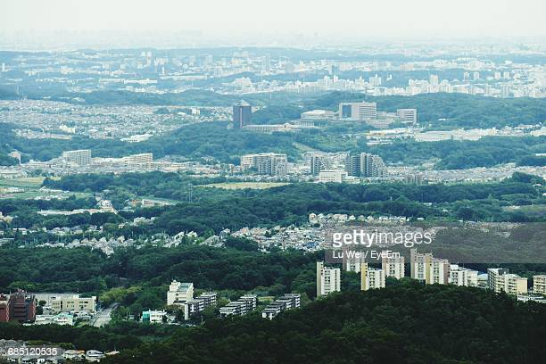 aerial view of cityscape - hachioji stock pictures, royalty-free photos & images
