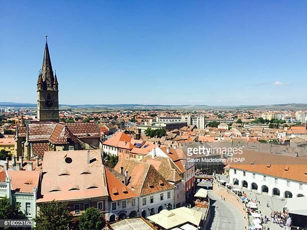 Aerial view of cityscape Sibiu town in Transylvania, Sibiu