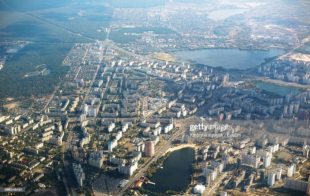 Aerial View Of Cityscape With Pond : Stock Photo