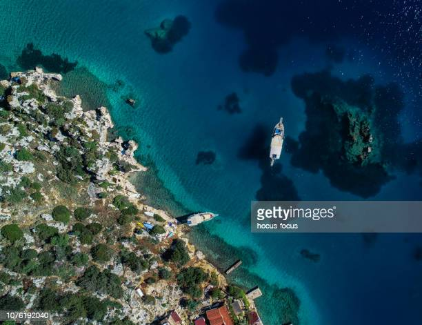 Aerial view of clear turquoise sea of Kekova bay and yacht