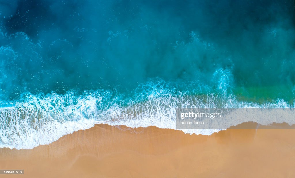 Aerial view of clear turquoise sea : Stock Photo