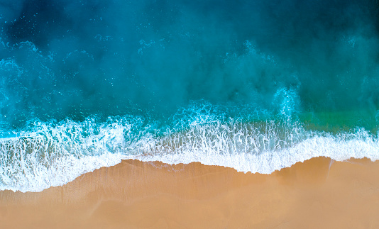 Aerial view of clear turquoise sea 956431518