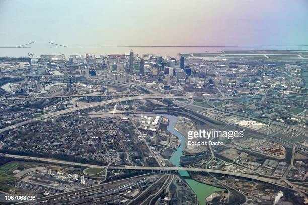 aerial view of cleveland city and lake erie - cleveland ohio stock pictures, royalty-free photos & images