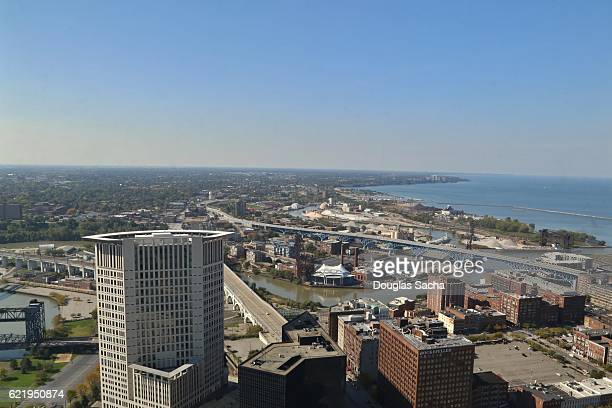 aerial view of cleveland on the lake erie shore - rock and roll hall of fame cleveland stock pictures, royalty-free photos & images