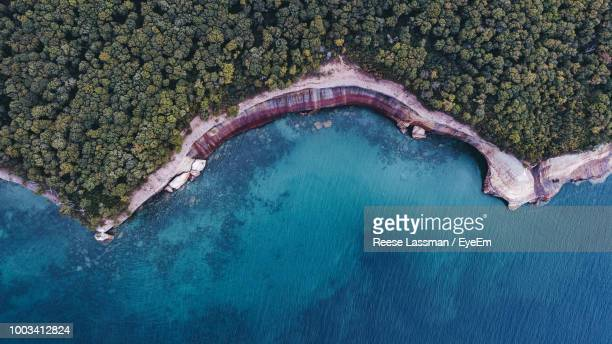 aerial view of cliff by sea - munising michigan stock pictures, royalty-free photos & images
