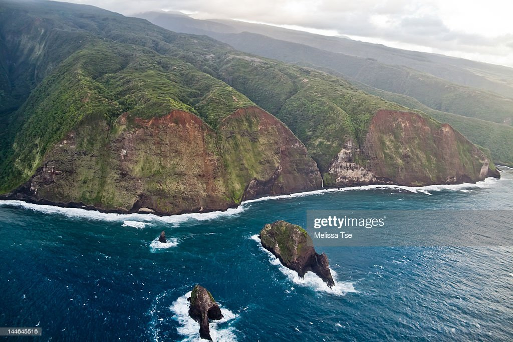 Aerial View of cliffs at Pololu Valley : Stock Photo