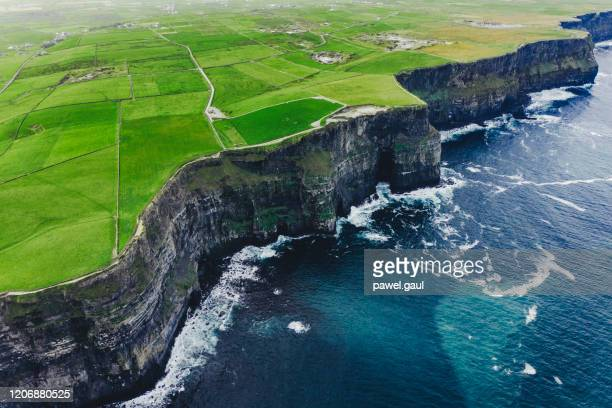 aerial view of cliffs of moher ireland - republic of ireland stock pictures, royalty-free photos & images