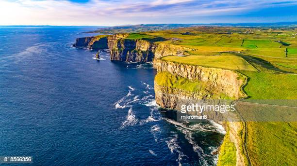 Aerial view of Cliffs of Moher, Liscannor, County Clare, Ireland