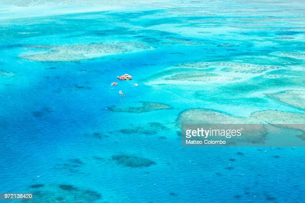 aerial view of cloud 9, malolo barrier reef, mamanucas, fiji - western division fiji stock photos and pictures