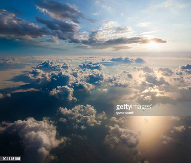 aerial view of clouds from the sky - sopra foto e immagini stock