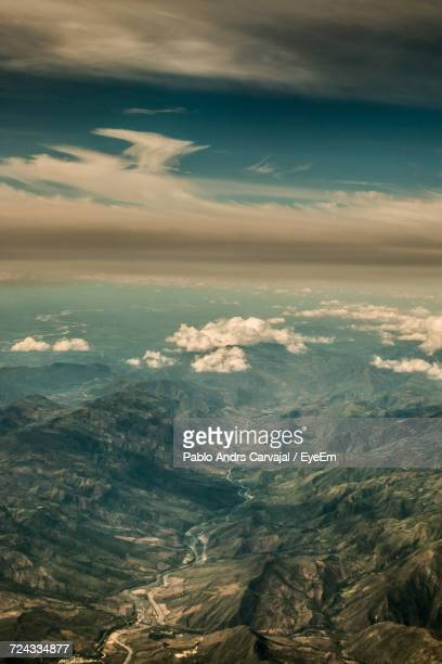 aerial view of clouds over calm sea - carvajal ストックフォトと画像