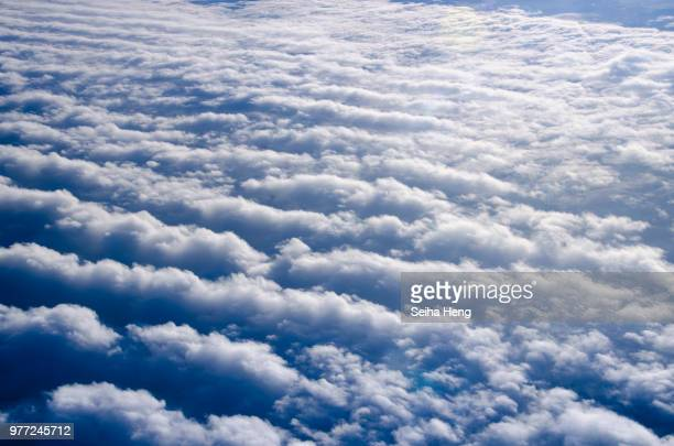 aerial view of clouds, vienna, austria - altocumulus stockfoto's en -beelden