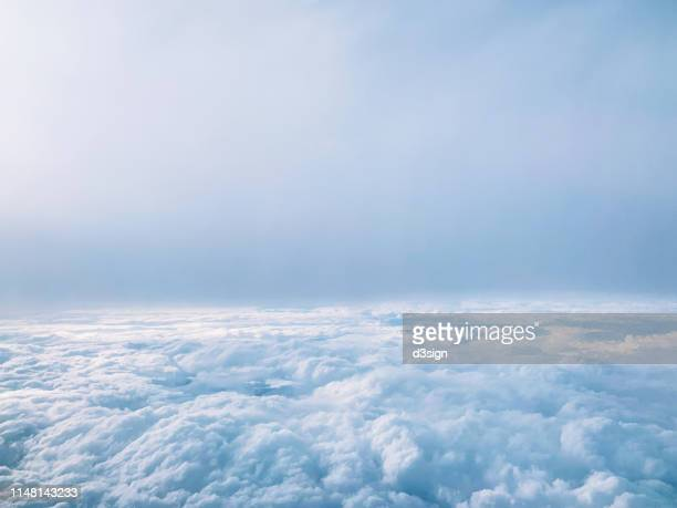 aerial view of cloudscape against blue sky - 雲海 ストックフォトと画像