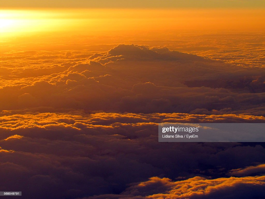 Aerial View Of Cloudscape During Sunset : Stock Photo