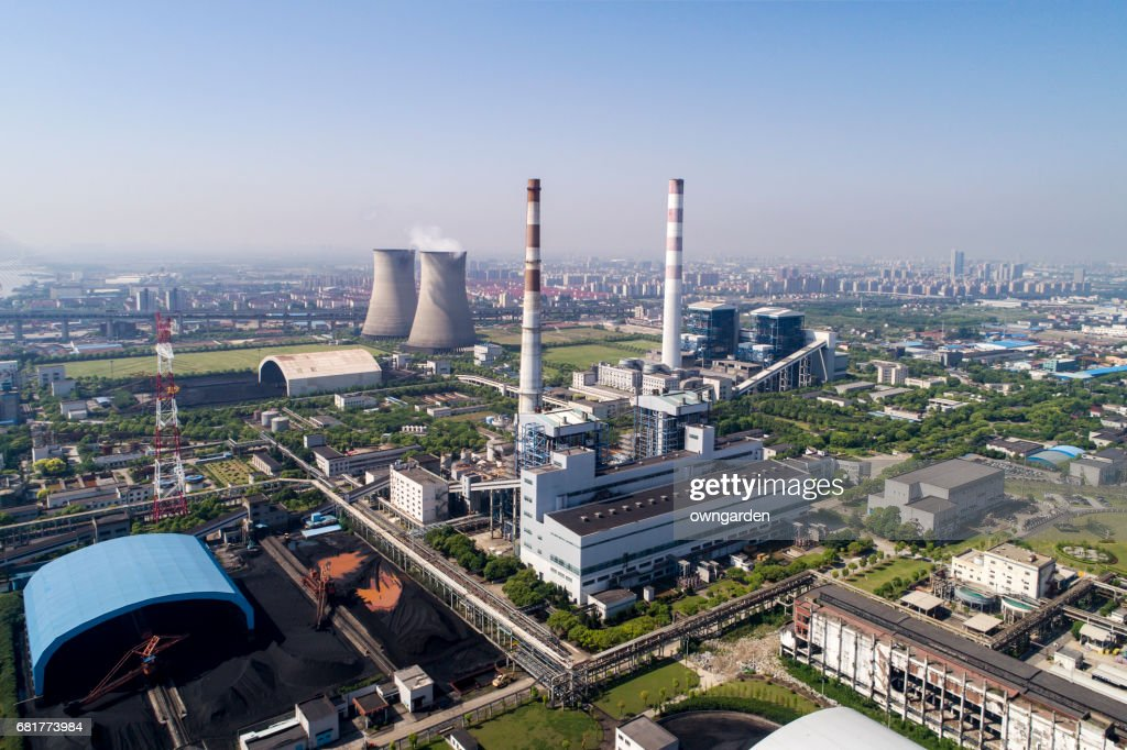 Aerial view of Coal-fired power station,shanghai,china : Stock Photo