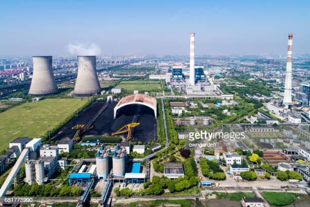 Aerial view of Coal-fired power station,shanghai,china
