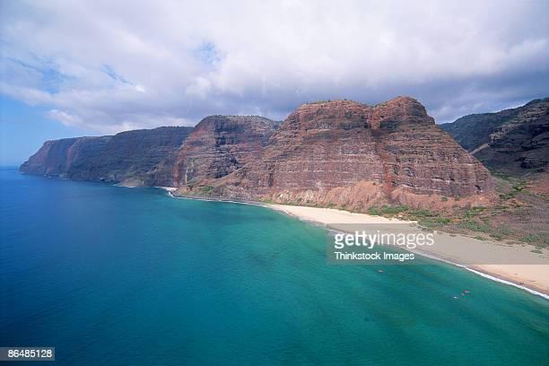 aerial view of coast, kauai, hawaii - waimea canyon stock pictures, royalty-free photos & images