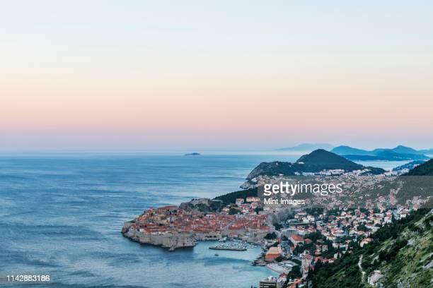 aerial view of coastal city on hillside, dubrovnik, dubrovnik-neretva, croatia - アドリア海 ストックフォトと画像