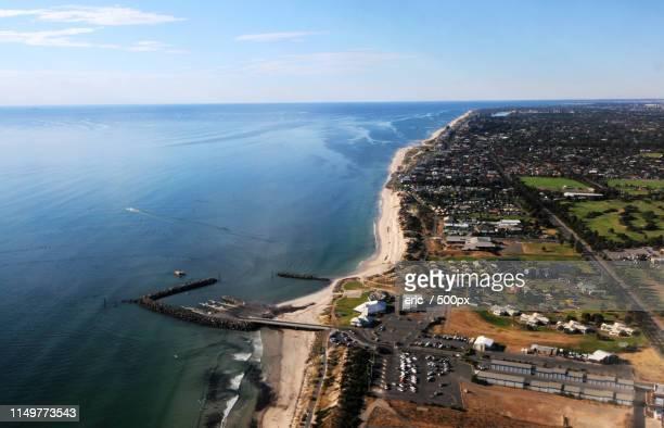 aerial view of coastal city - ghana africa fotografías e imágenes de stock