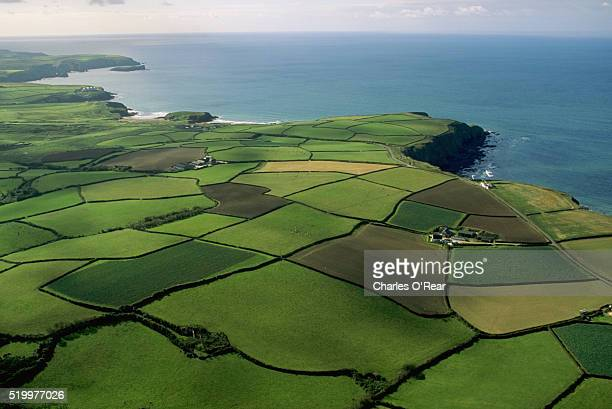 aerial view of coastal fields - cornwall england stock pictures, royalty-free photos & images