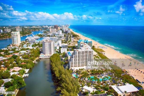 aerial view of coastal fort lauderdale - fort lauderdale stock pictures, royalty-free photos & images
