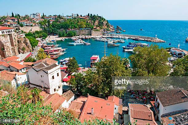 aerial view of coastal line and port of antalya, turkey - antalya province stock pictures, royalty-free photos & images