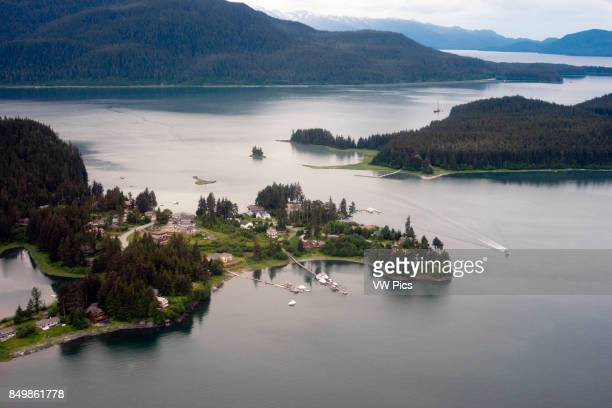 Aerial view of Coastal Mountains houses and glaciers north of Juneau Southeast Alaska Juneau has an amazing number of fully accessible mountains and...