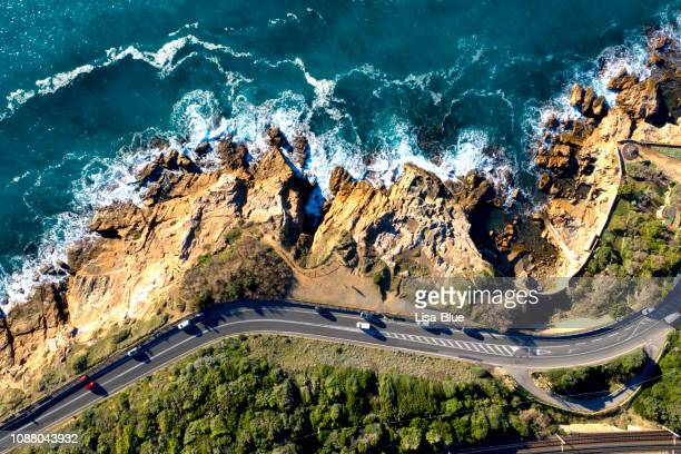 aerial view of coastal road in tuscany, italy - hd format stock pictures, royalty-free photos & images