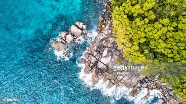 Aerial view of coastline -  Anse Royale - Mahe Island - Seychelles