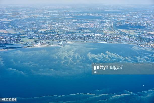 aerial view of coastline, copenhagen, denmark - selandia fotografías e imágenes de stock
