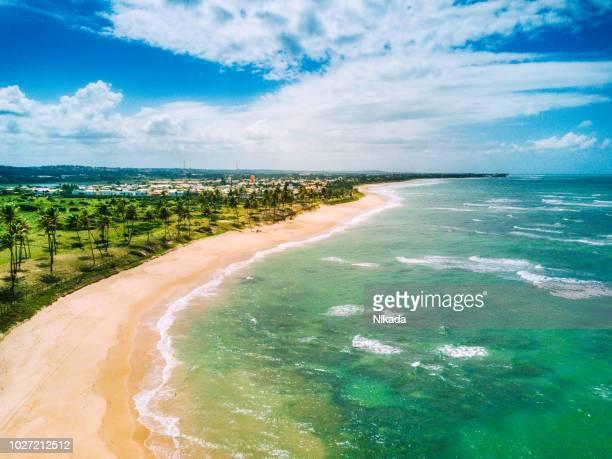 luftaufnahme der küste in brasilien, bundesstaat bahia - nordöstliches brasilien stock-fotos und bilder