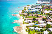 Aerial view of coastline of Grand Cayman, Cayman Islands