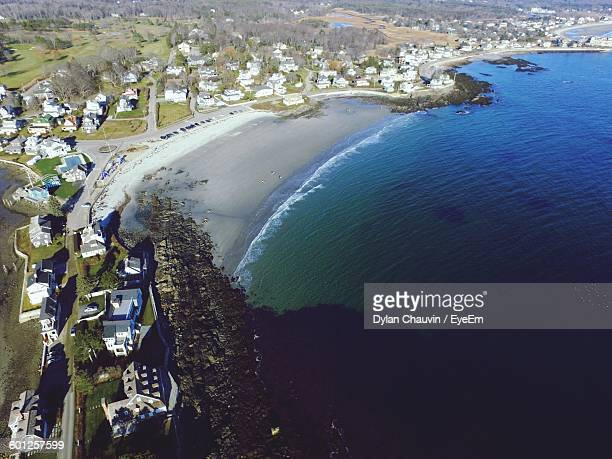 aerial view of coastline - chauvin stock pictures, royalty-free photos & images